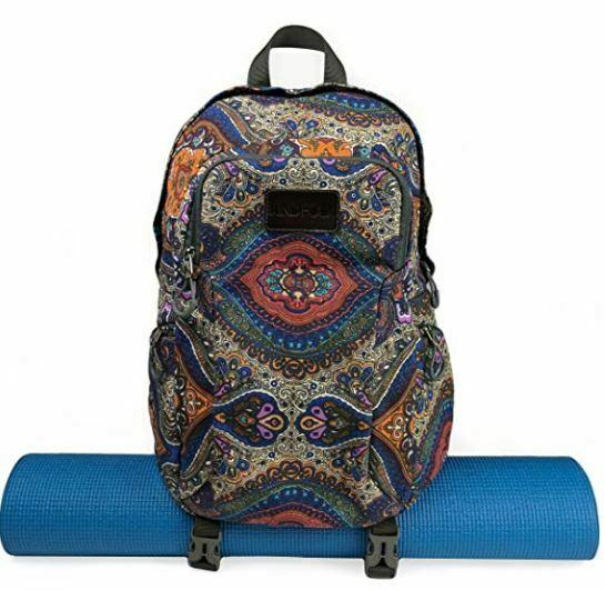 yoga mat backpacks: Kindfolk Yoga Mat Backpack Two Straps Patterned Canvas