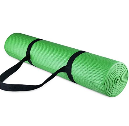 thick yoga mat for bad knees: BalanceFrom GoYoga All-Purpose 1/4-Inch High Density Anti-Tear Exercise Yoga Mat with Carrying Strap
